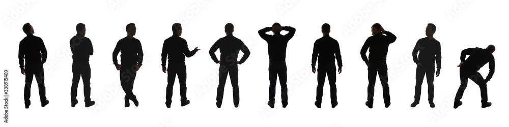 Fototapeta Silhouette photo of a standing men poses isolated