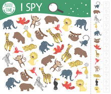 Tropical I Spy Game For Kids. Exotic Searching And Counting Activity For Preschool Children With Cute Animals. Funny Jungle Game For Kids. Logical Quiz Printable Worksheet. Simple Summer Game..