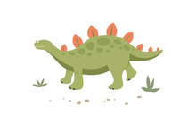 Funny Green Stegosaurus Walks In The Grass. Cute Dinosaur Isolated On A White Background. Funny Prehistoric Animal Of The Jurassic Period. Colorful Cartoon Vector Illustration In Flat Style.