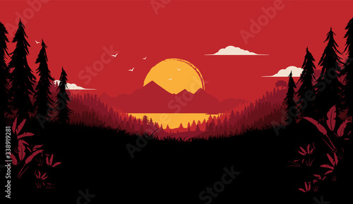 Wilderness vector illustration - dramatic nature background with big sunset, forest and view of sea and mountains Fototapete