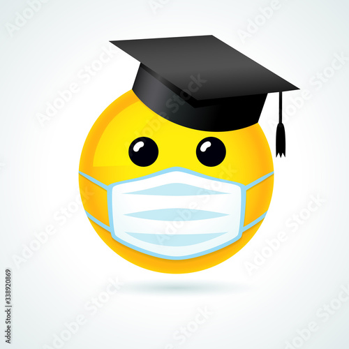 Photo Emoji smile in academic cap & medical guard mouth mask