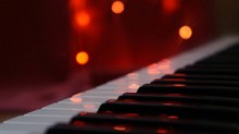 Close-up Of Piano Keys In Illuminated Room