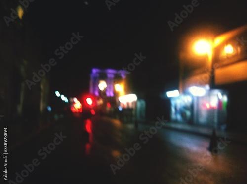Canvas Print Defocused Illuminated Nightlife