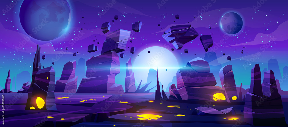 Fototapeta Space game background, night alien fantasy landscape with flying rocks, planets in dark starry sky. Extraterrestrial glowing liquid plasma spots in cracked land surface, Cartoon vector illustration