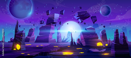 Obraz Space game background, night alien fantasy landscape with flying rocks, planets in dark starry sky. Extraterrestrial glowing liquid plasma spots in cracked land surface, Cartoon vector illustration - fototapety do salonu