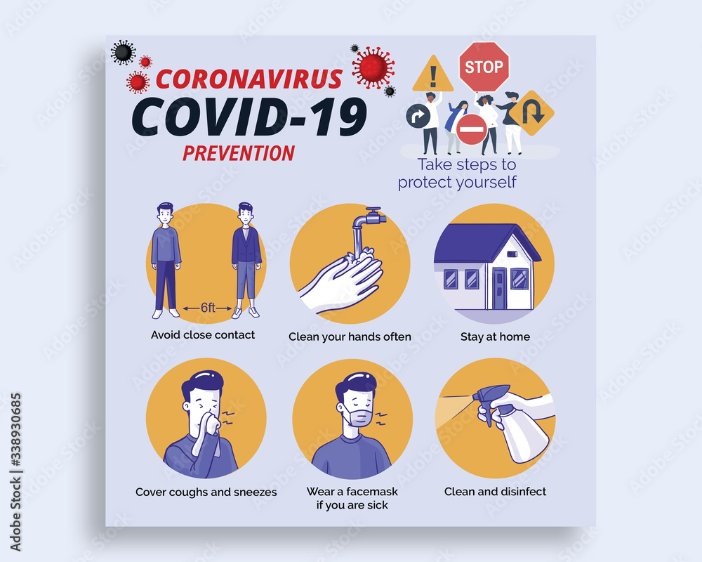 Fototapeta Coronavirus COVID 19 Prevention Banner Template