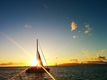 Yacht Sailing Into Sunset On C...