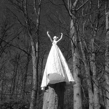 Female Sculpture On Tree Stump In Bare Tree Forest