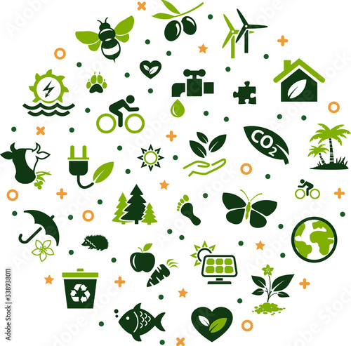 Fototapeta Sustainability / environmental protection vector illustration. Concept with icon related to renewable energy, ecology, green business, resource saving and sustainable development. obraz