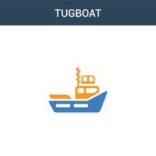 Two Colored Tugboat Concept Vector Icon. 2 Color Tugboat Vector Illustration. Isolated Blue And Orange Eps Icon On White Background.