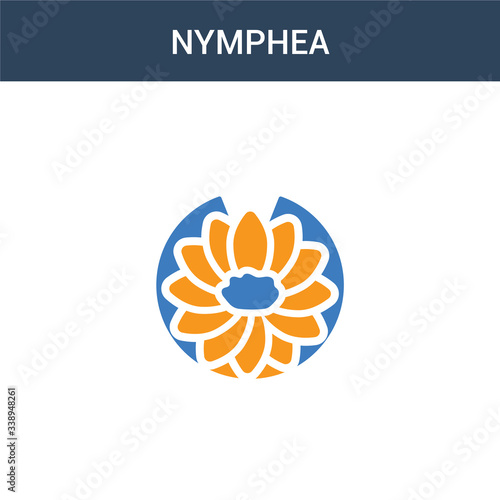 two colored Nymphea concept vector icon Canvas Print