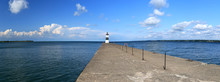Erie Harbor Pierhead Lighthouse Pennsylvania Panorama. Isle North Pierhead Lighthouse On Shore Of Lake Erie In Pennsylvania. Built In 1800's. Nautical Navigation Historical Building.