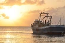 Fishing Trawler In Sea During Sunset