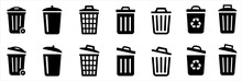 Bin Icon Set. Trash Can Collection. Trash Icons Set. Web Icon, Delete Button. Delete Symbol Flat Style On White Background - Stock Vector.