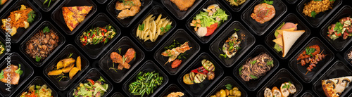 Fototapeta Collection of black plastic take away boxes with healthy food. Set of containers with everyday meals - meat, vegetables and law fat snacks on black background obraz