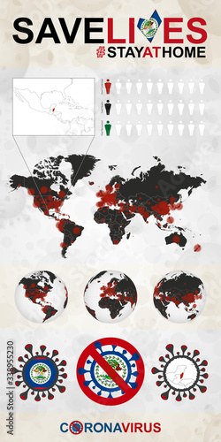 Photo Infographic about Coronavirus in Belize - Stay at Home, Save Lives