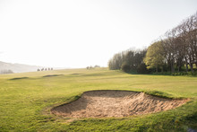Bunker Filled With Sand On A Golf Course