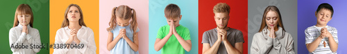 Photo Set of praying people on color background