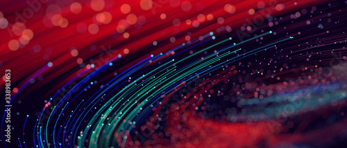 Abstract colorful technology lines big data flow Fototapet