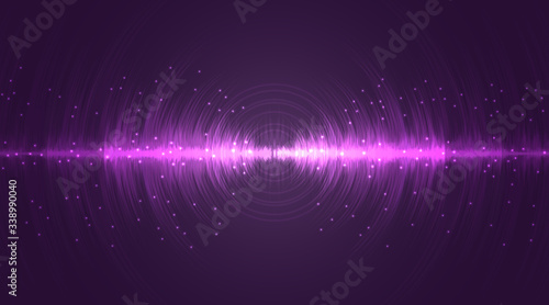 Obraz Sound wave neon flash lines in white and purple on gradient background - fototapety do salonu