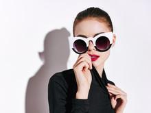 Beautiful Woman Dark Glasses Disco Studio Dance Lifestyle