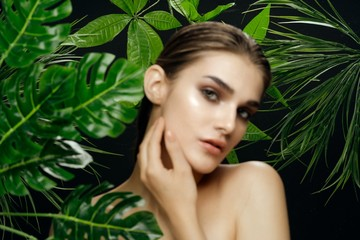 Panel Szklany Podświetlane Do Spa Beautiful woman green leaves Exotic bare shoulders luxury spa treatments