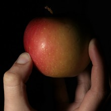 Close-up Of Person Hand Holding Apple