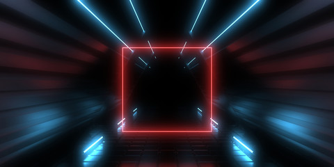 3D abstract background with neon lights. neon tunnel .3d illustration
