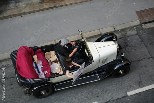 Fototapeta High Angle View Of Man Driving Vintage Car
