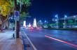 Night view of Democracy monument on Ratchadamnoen Road in Bangkok, Thailand