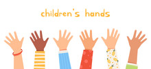 Set Children's Hands Raised Up...