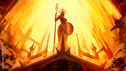 Canvas-taulu A statue of a Greek goddess with a shield and staff stands in the middle of a divine city with high towers