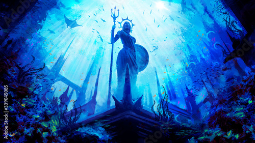A statue of the Greek goddess with a shield and a trident, stands in an underwater city surrounded by fish and corals, against the background of the water kingdom is painted in a dynamic perspective Wallpaper Mural