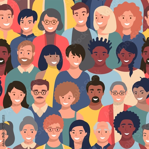 Obraz Seamless pattern with people faces of different ethnicity and ages. Parade or meeting crowd, men and women various hairstyles, young and elderly characters heads, repeating background. - fototapety do salonu