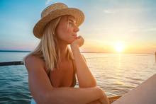 Young Happy Woman Enjoying Sun...