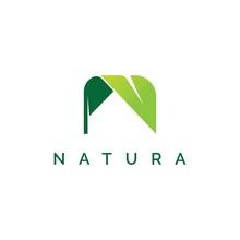 Letter N With Leaf Shape Logo ...