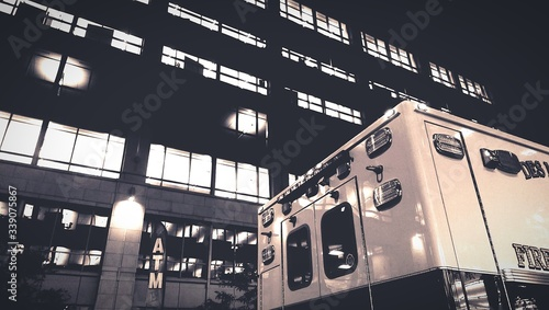 Fotografia, Obraz Low Angle View Of Fire Engine In Front Of Building