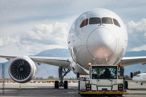 An airplane at Arturo Merino Benitez international airport in Santiago, Chile Canvas Print