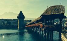 Chapel Bridge Across Reuss River Against Sky