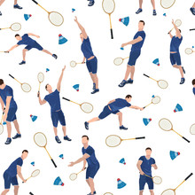 Badminton Seamless Pattern With Badminton Player, Vector Illustration