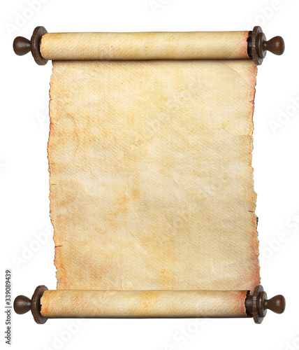 Ancient scroll parchment with wooden handles. Clipping path included. 3d illustration.