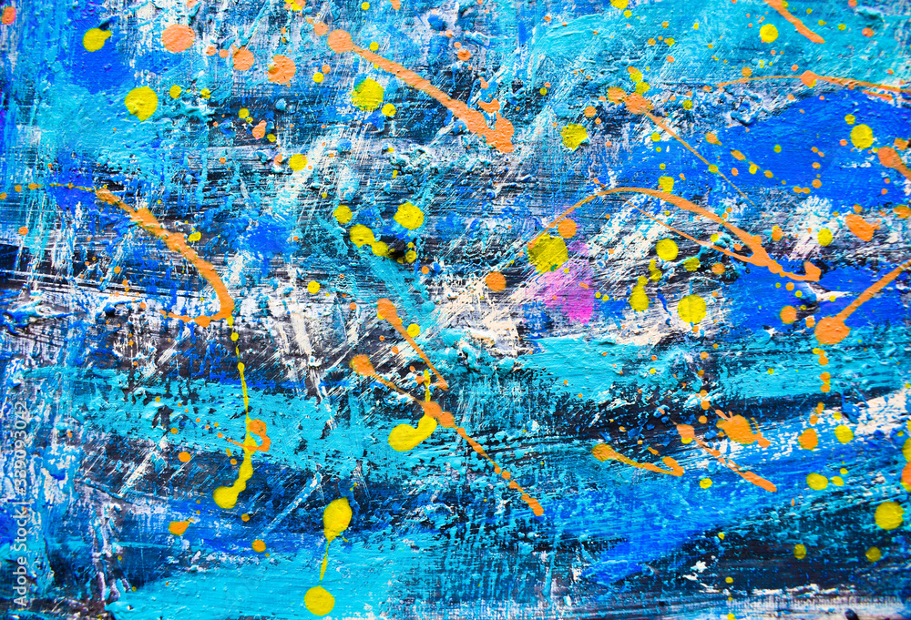 Abstract art, colorful oil paintings on canvas are beautiful, modern art Contemporary art.