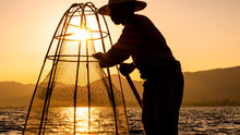 Fishermen Working With A Net D...