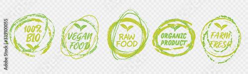 Fototapeta Vegan Healthy Ecology Bio Emblem Logo Design Lettering Badges with Fresh Green Leaves and Grunge Circles Icon Label Sticker Design obraz