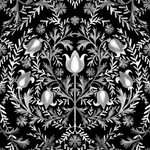Black White Floral Seamless Pattern. Ethnic Ornament