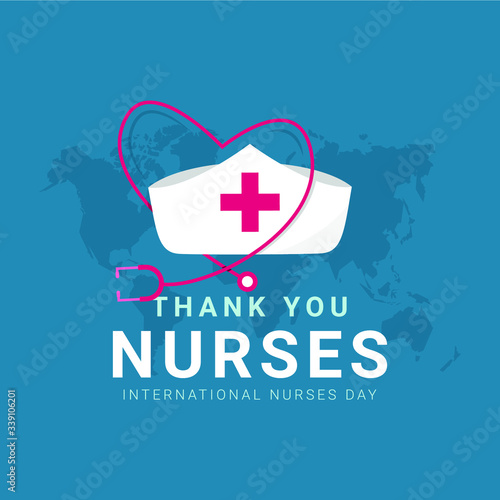 Thank you nurses design template. Happy international nurses day celebrations. Design for banner, greeting cards or print. - fototapety na wymiar