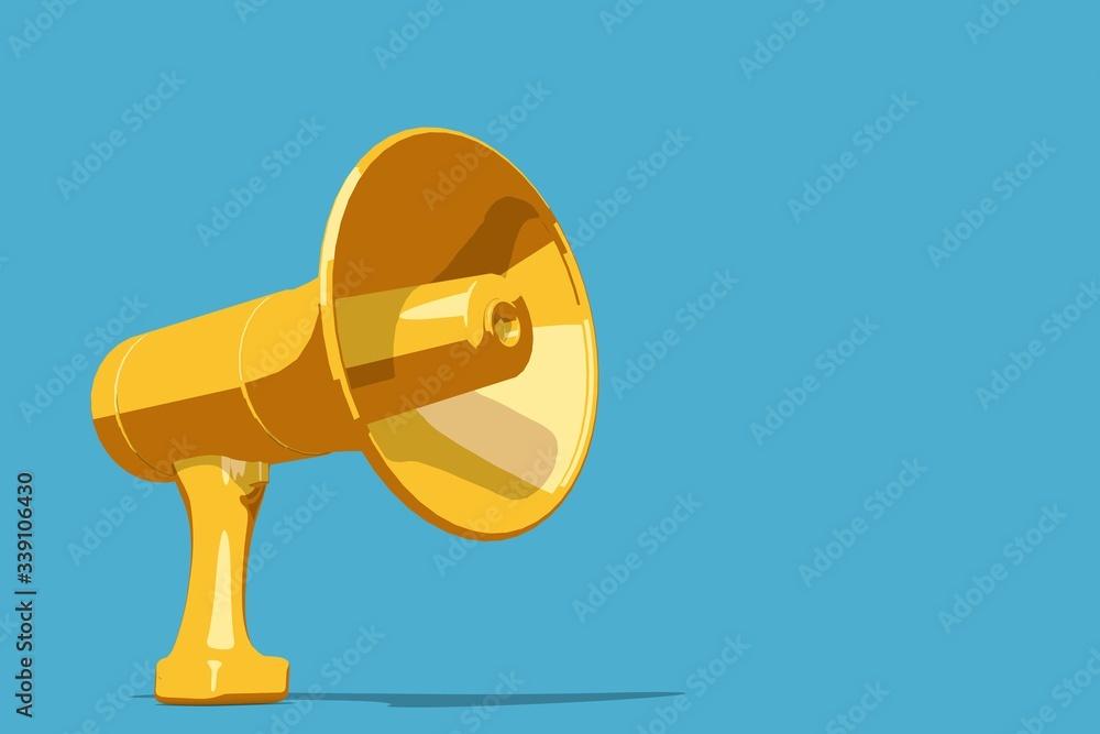 Fototapeta yellow loud speaker megaphone on a blue background. 3D rendering