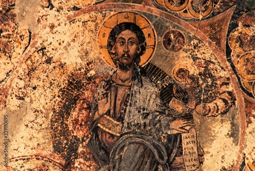 Photo Fresco inside the Byzantine church of Ag