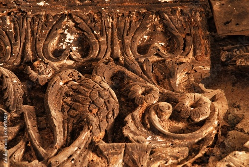 Photo Woodcarvings in  the Byzantine church of Ag