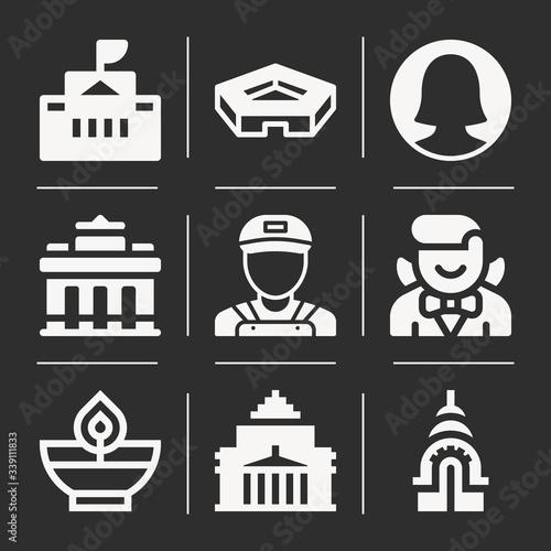 Obraz na plátně 9 pack of orissa  filled web icons set